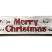 Personalized Merry Christmas Sign With Family Names