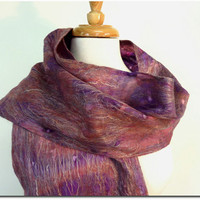 Wool Fashion Scarf. Hand painted Silk and Wool Felted Scarf. Fringed Plum