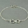 Double Chain INFINITY Bracelet, Fine Silver Charm, Sterling Silver Chain, Simple,Cute, Pretty Bracelet