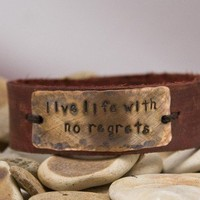 leather cuff bracelet, live life with no regrets, distressed