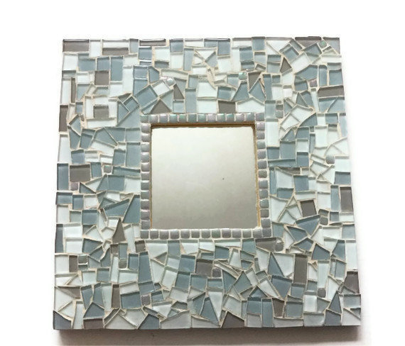 Gray Mosaic Wall Mirror