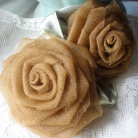 Pair of Roses Flower Brooch For Fall