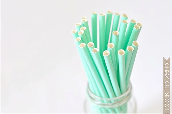 Paper Straw Solid Color - Pastel Green x 25
