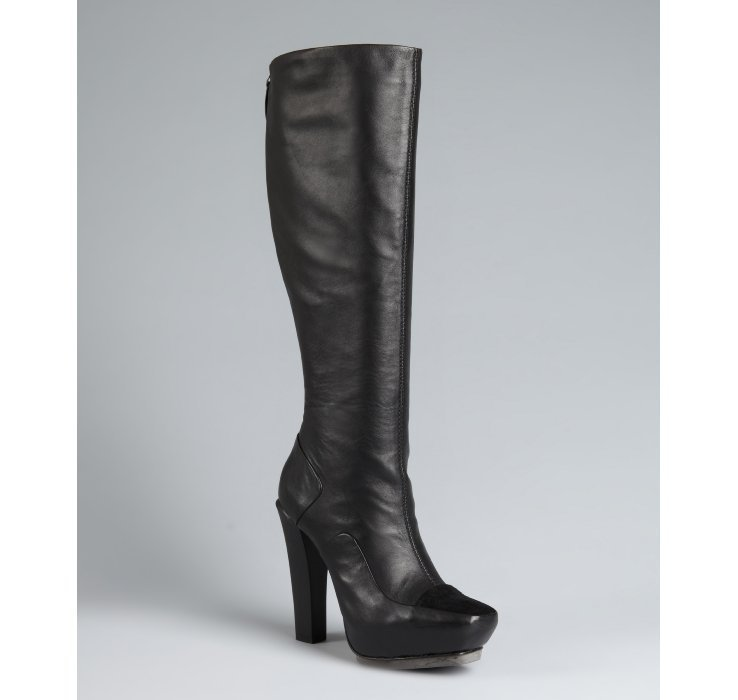 L.A.M.B. black leather stacked heel