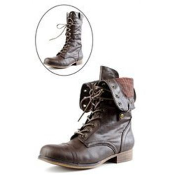 Surprise01 Convertible Laced Combat Boots BROWN