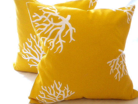 Throw pillow cover yellow/ White Coral from Mica blue design