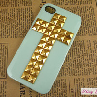 Studded iPhone 4 case, iphone 4s case stud cross, customize mint green hard case for iPhone 4/4s/5, iPhone cover