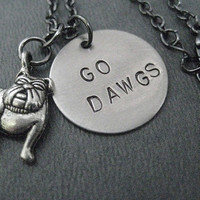 GO DAWGS - Georgia Bulldogs Round Pendant Necklace on 18 inch gunmetal chain - UGA Necklace - Dawgs Jewelry - Georgia Football