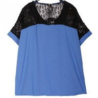 Lace Chiffon Lapel V-Neck Short Sleeve Blue Top S/M/L/XL@A2048bl