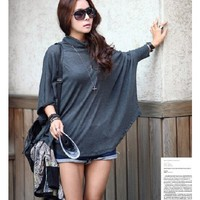 Women Grey Cotton Over Loose High Neck Batwing Sleeve Free Size Top@A8029g