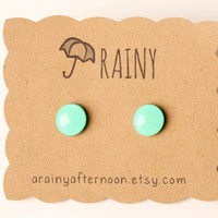 Minty Green Post Earrings