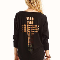 cut-out-cross-sweatshirt BLACK HEATHER - GoJane.com