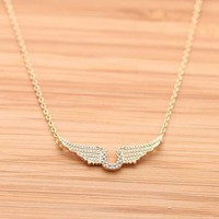 ANGELs WING with U necklace in gold  by bythecoco on Zibbet