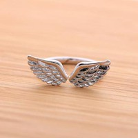 ANGELs WING ringadjustable in silver by bythecoco on Zibbet