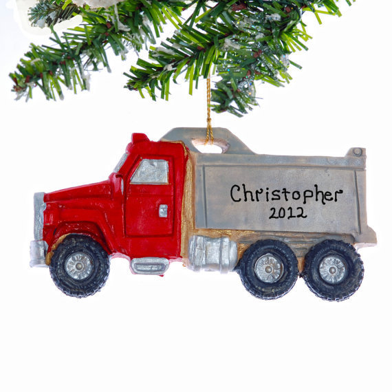 Personalized Dump Truck Christmas Ornament--Free Personalization - Red Dump Truck Ornament