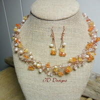 Autumn color Crochet Glass Crystal and Freshwater Pearl Earring Set