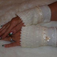 Victorian style Winter White Ivory Fleece and Lace Cuffs