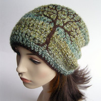 Slouchy Beanie with Embroidered Tree - Green, Blue, Yellows, and Chocolate Brown- Made to Order