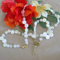 White Mother of Pearl Lanyard by PattysDreamDesigns on Zibbet