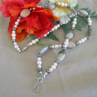 Peach Jasper and Glass Pearl Lanyard by PattysDreamDesigns on Zibbet