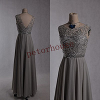 Light Gray Beaded Long Prom Dresses with Peacock Neckness, Sexy Bridesmaid Dress, Formal Evening Dresses ,Party Dresses,Beaded Prom Dresses
