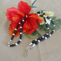Black Glass Bead Lanyard by PattysDreamDesigns on Zibbet