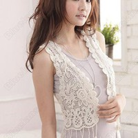 Discount China china wholesale Korean All-match Pierced Lace Tassels Shawl Vest [30120] - US$4.99 : Bluelans