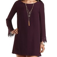 Lace-Cuffed Long Sleeve Shift Dress by Charlotte Russe - Wine