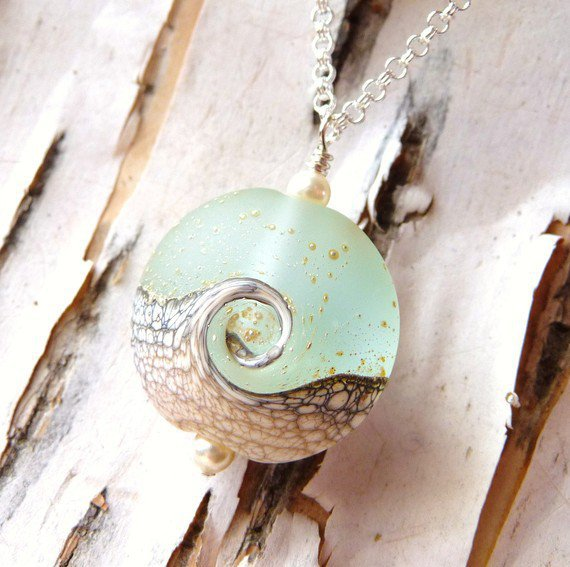Summer SALE Nautical Necklace, Ocean Wave Lampwork Pendant Necklace, Frosted White Lentil Bead, Lampwork Necklace, Beach Necklace