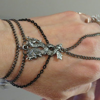 "Dragon Gunmetal ""Slave Bracelet"" Ring. Double Dragon Pendant Charm. Gothic, Renaissance Adjustable Bracelet. Fits 6"" Wrists and up."