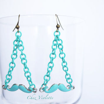 Mustache earrings - Blue fresh mint earring - Christmas earrings