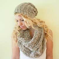 Slouchy hat beanie crocheted - oatmeal - wool