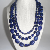 Lapis Lazuli Blue Triple Strand Necklace Silver Toggle Fashion under 60