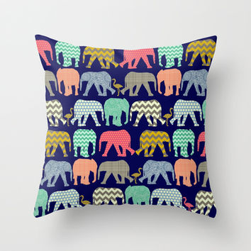 baby elephants and flamingos navy Throw Pillow by Sharon Turner