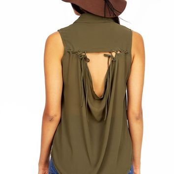 Sleeveless Draping Blouse