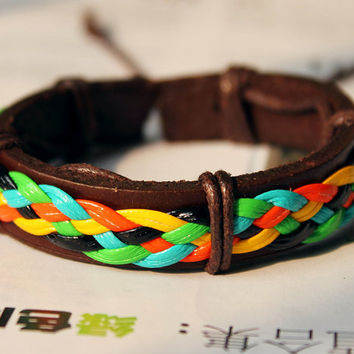 Brown Leather Cuff and Multicolor Glue Weaved Wrap Bracelet C-05