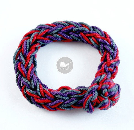 Crochet I cord bracelet 100% cotton