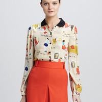 jessie cocktail-print blouse