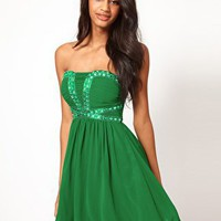 Little Mistress Sequin Bustier Babydoll Dress at asos.com