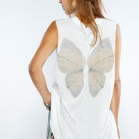 White Loose Sleeveless Muscle Tank with Fairy Wing Back