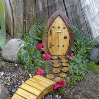 Miniature Garden, Fairy Door, Gnome Door, Hobbit Door, Elf Door, Troll Door. 7&quot; tall Forest door garden kit.