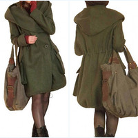 Autumn winter hooded woolen overcoat In Army Green