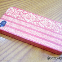 Case iPhone 4, iPhone 4 Case, iPhone Cases 4 - Red Thai Style Pattern Stripe