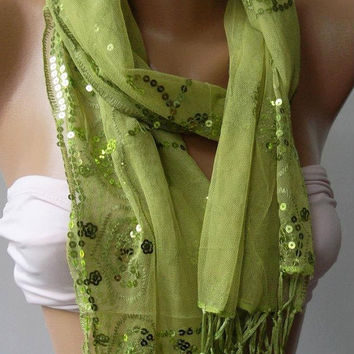 Green - Elegance Shawl /Scarf with Lace Edge
