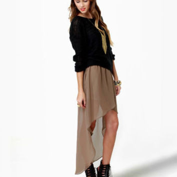 Cute High-Low Skirt - Brown Skirt - Tulip Skirt - Taupe Skirt - $35.00