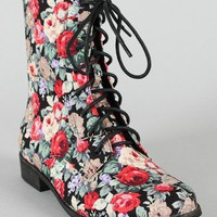 Alexis-26 Rosette Print Lace Up Ankle Bootie
