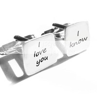 Love Cufflinks I love you I know Square personalized keepsake gift for him guys men father Wedding Birthday cuff links star wars