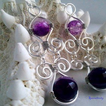 Wire wrapped purple agate and purple crackle beaded earrings