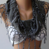 Scarf ...Pashmina  Scarf...Grey ...Elegance  Scarf Shawl.