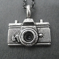 CAMERA Necklace - Photographer Jewelry - Photography Lovers Necklace on 18 inch gunmetal chain